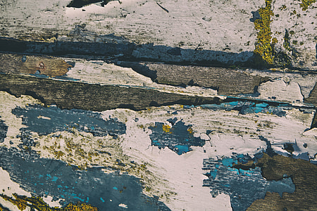 Wide angle shot of worn and cracked paint on a wooden background, image captured with a Canon DSLR