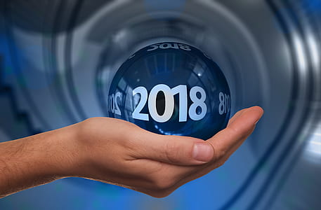 person holding 2018 blue ball