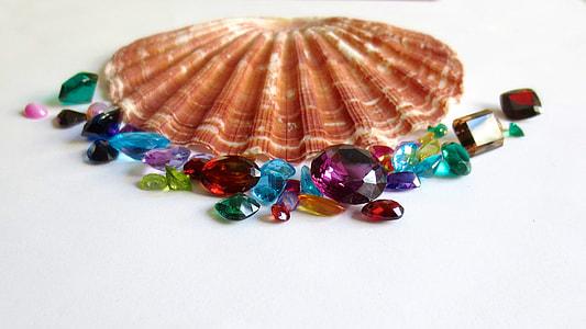 assorted gemstones beside brown seashell