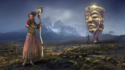 sorceress holding wand illustration