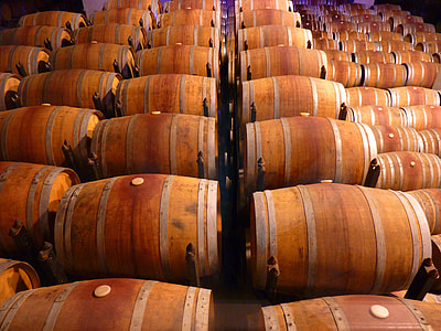 brown wooden barrels arranged