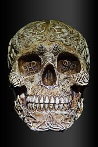beige engrave skull decor