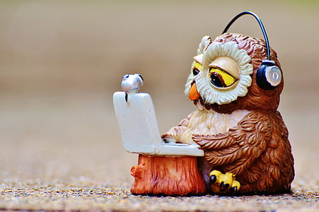 brown wooden owl figurine