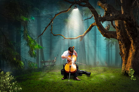 man playing viola in forest