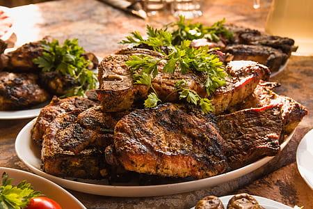 roasted beef steak on white plate