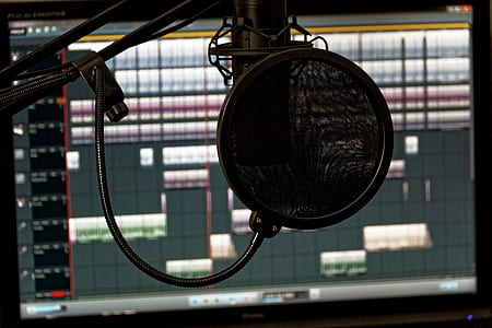 black studio condenser microphone in front of computer monitor