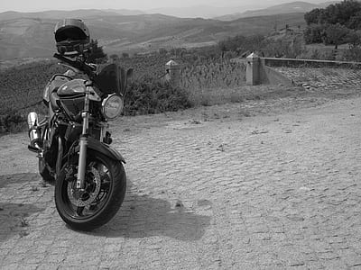 Grayscale Photo of Standard Motorcycle
