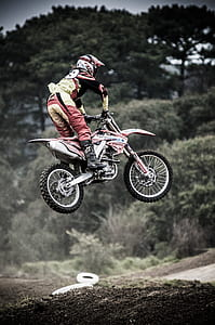red and white dirt bike