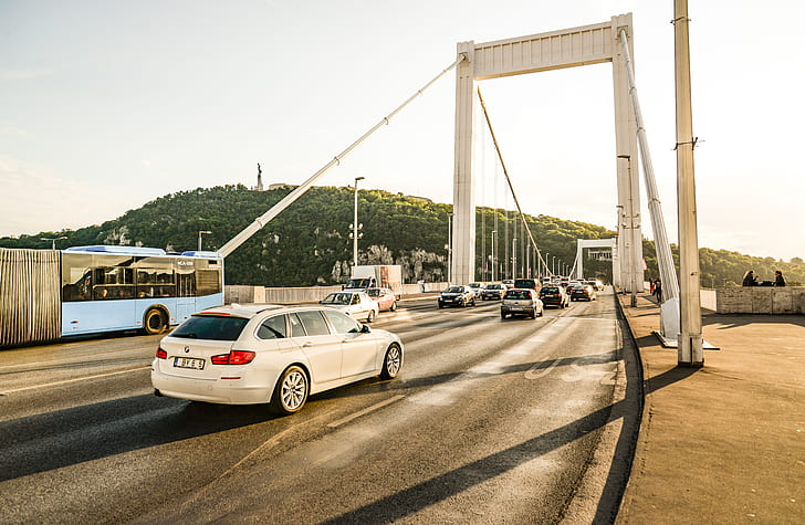 White 5-door Hatchback in Bridge