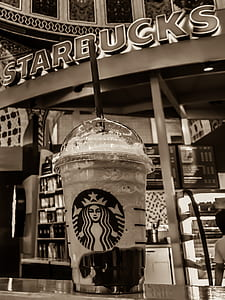 Starbucks Stall Grayscale Photo