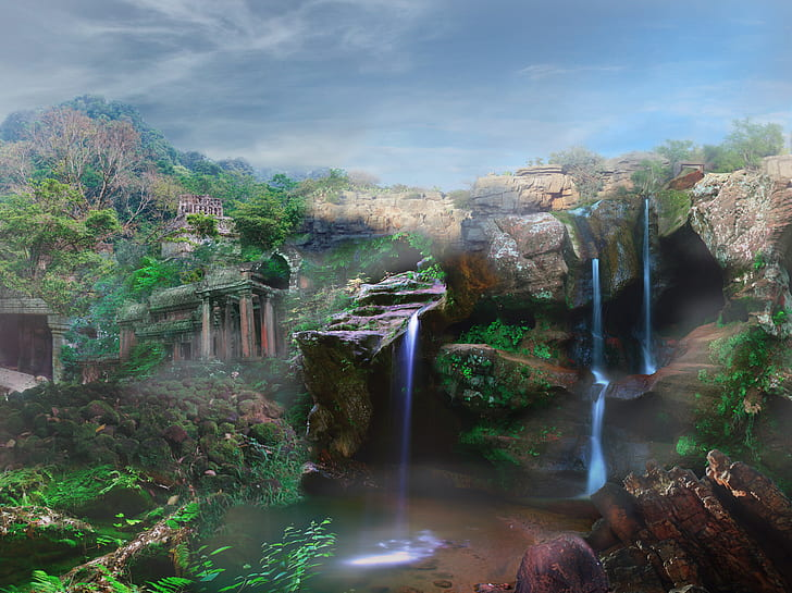 Royalty Free Photo Waterfalls Painting Pickpik