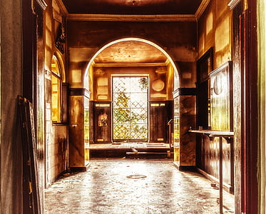 hallway of house in front window
