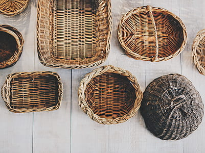 assorted brown wicker basket lot
