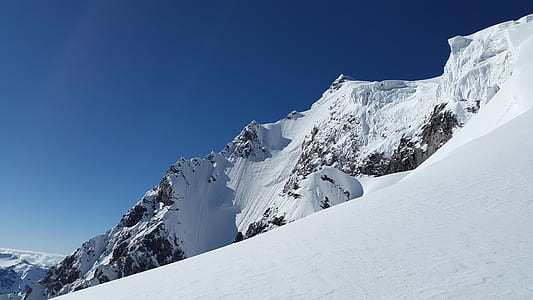 covered of snow mountain under blue sky photography during daytime