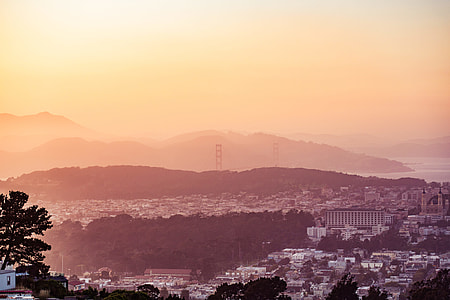 Evening San Francisco Hills with The Golden Gate Bridge in The Distance