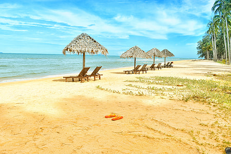 empty loungers with hat on shore