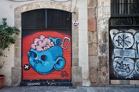 Street art captured in the Gothic Quarter of Barcelona in Spain