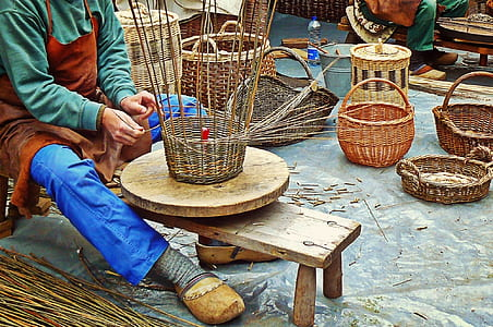 person woving basket
