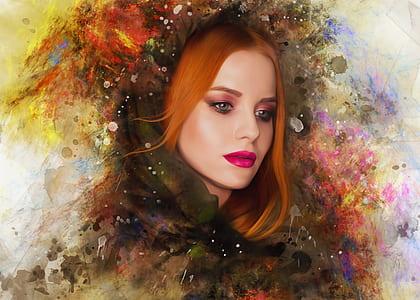 orange haired woman's portrait