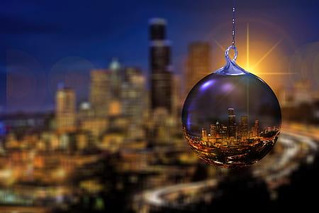clear glass pendant water globe