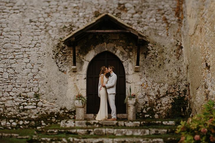 Wedding couple at church