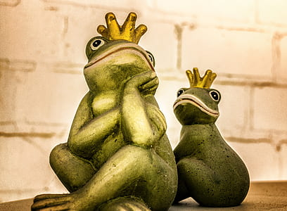 two green frogs wearing gold crowns illustration