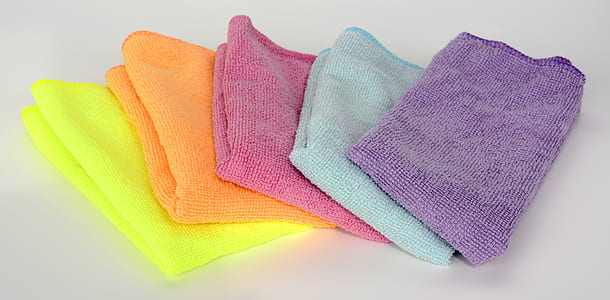 yellow, orange, purple, teal, and pink textiles