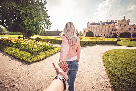 Young Couple Enjoys Walking in Chateau Garden #followmeto