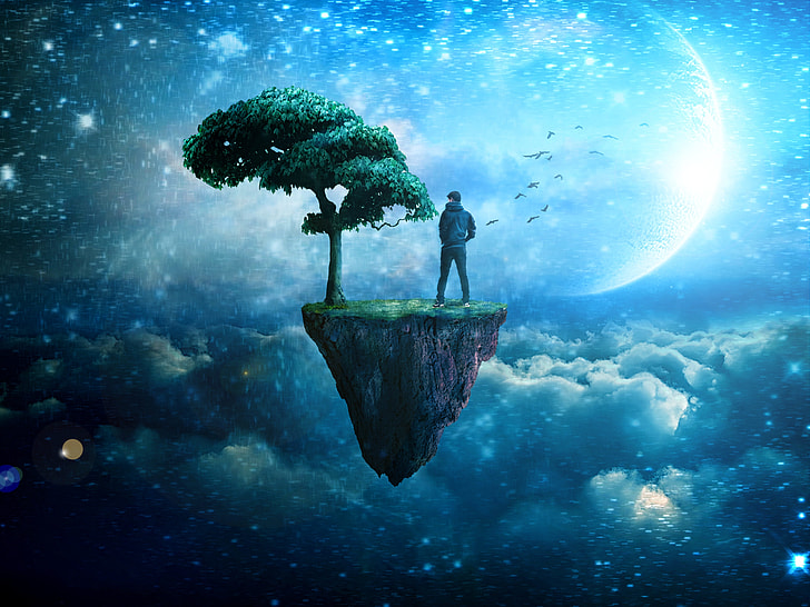 person in blue hoodie standing on cliff 3D wallpaper