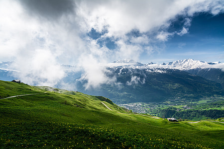 green grass field in front of snow mountains