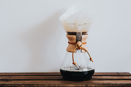 Pouring hot water in Chemex