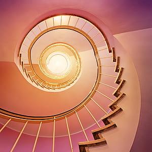 pink spiral stairs illustration