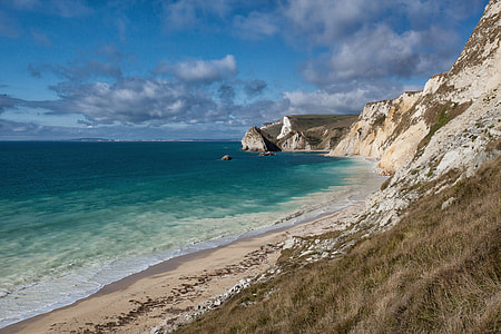 Wide-angle landscape shot of the white cliffs on the Jurassic Coast in Dorset, England