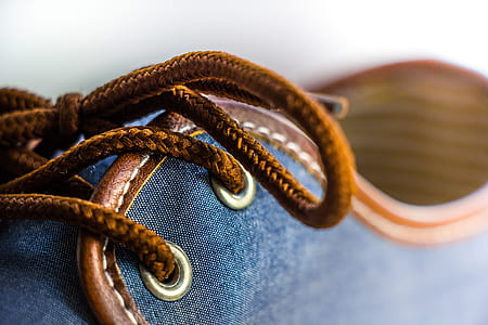 close up photography of blue low-top shoe