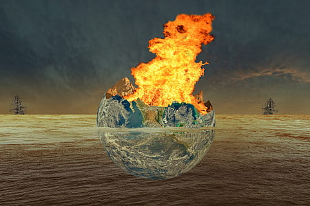 burning earth digital wallpaper