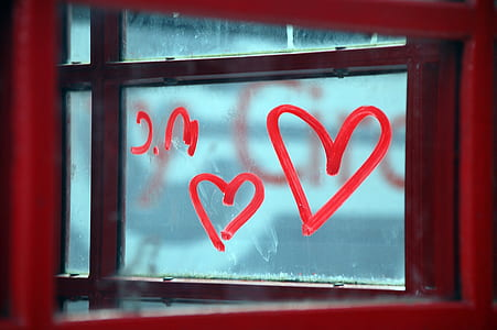 heart painted on glass window