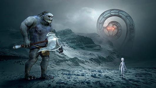 snake, alien and orc illustration