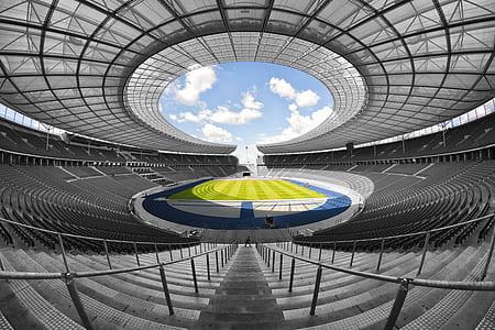 fish-eye view photograph of football stadium