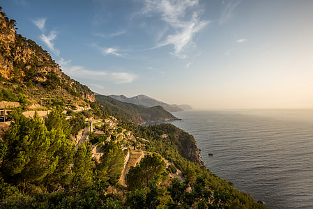 landscape photography of mountain near the sea