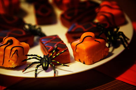 black spider and muffins on white ceramic plate