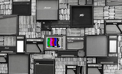 guitar amplifier and vintage TV grayscale poster