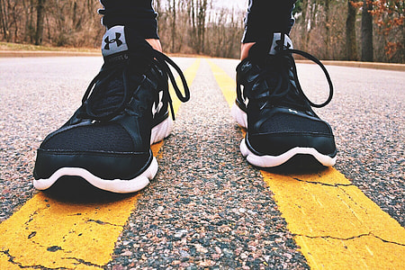 Shoes and sneakers for road jogging exercise