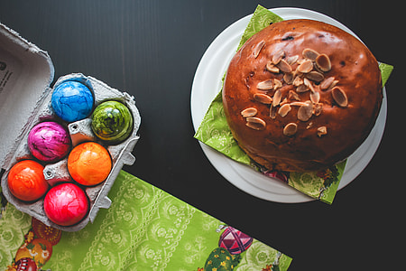 Easter Cake and Colorful Eggs: Happy Easter!