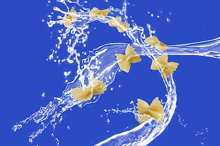 bow pasta with water