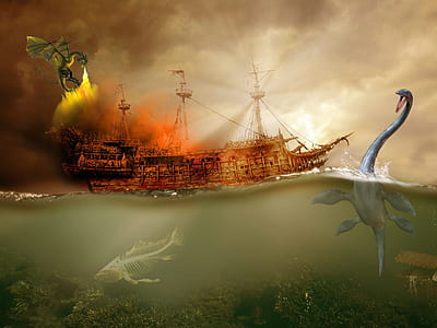 brown pirate ship surrounded with sea-creatures and dragon painting