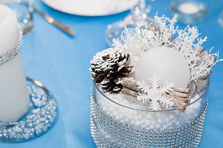 white snowflake decors