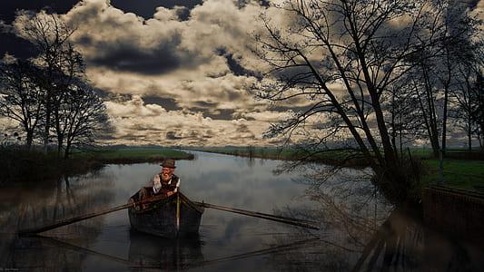 man sailing a boat on narrow river graphic wallpaper