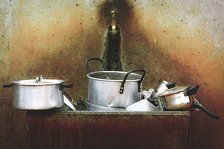 grey stainless steel cookwares paintings