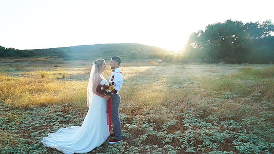 wedding, bride and groom, couple, sunset, sunrise