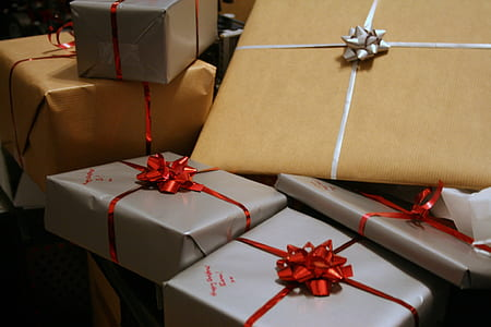 grey and yellow gift boxes